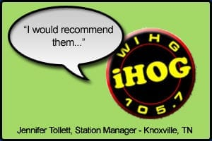 """WIHG Testimonial stating """"I would highly recommend them"""" - Jennifer Tollett, Station Manager Knoxville, TN"""