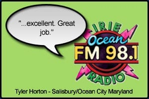 "WOCM Testimonial stating ""Excellent. Great job"" - Tyler Horton, Ocean City, Maryland"