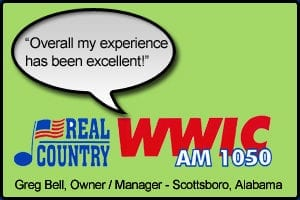 """WWIC Testimonial stating """"Overall my experience has been excellent"""" - Greg Bell, Station Owner - Scottsboro, Alabama"""