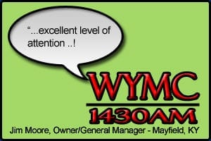 """WYMC Testimonial stating """"Excellent level of attention!"""" - Jim Moore, Station Owner, Mayfield KY"""